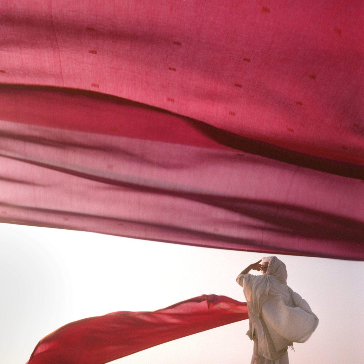 Mar dry red sari